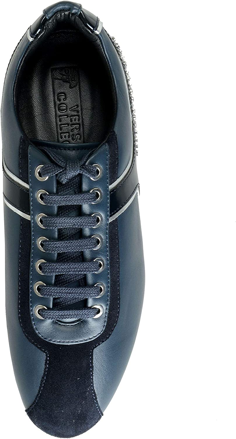 Versace Collection Mens Blue Leather Fashion Sneakers Shoes Sz US 7 IT 40