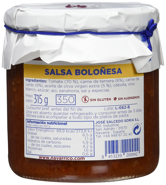 El Navarrico Salsa Boloñesa - Paquete de 3 x 315 gr - Total: 945 gr: Amazon.es: Alimentación y bebidas
