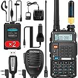 Ham Radio Walkie Talkie (UV-5R 8W) Dual Band 2-Way Radio with 2 Rechargeable 2100mAh Battery Handheld Walkie Talkies Complete
