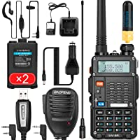$76 » Ham Radio Walkie Talkie (UV-5R 8-Watt) UHF VHF Dual Band 2-Way Radio with 2 Rechargeable…
