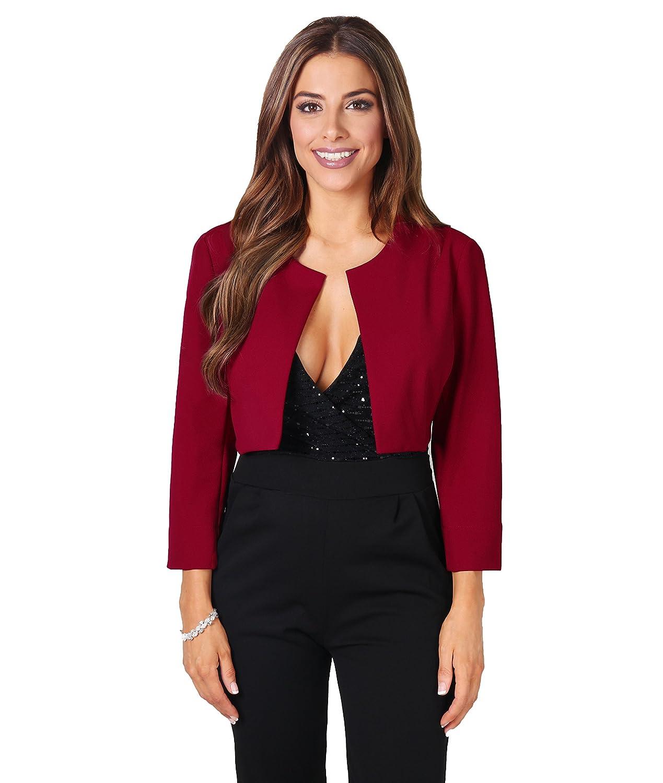 KRISP Womens 3/4 Lace Sleeve Cropped Evening Shrug Short Bolero Cardigan Jacket