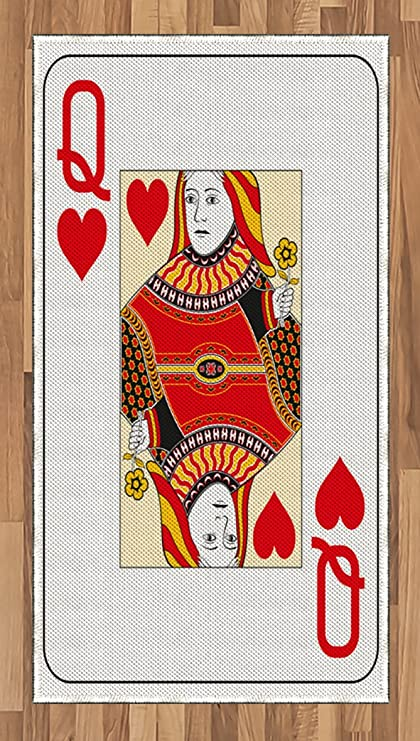 Ambesonne Queen Area Rug Of Hearts Playing Card Casino Design Gambling Game Poker Blackjack