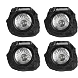 Solar Powered Rock Lights,Moclever 4 Pack LED Outdoor Stone Spotlight Fixture for Gardens,