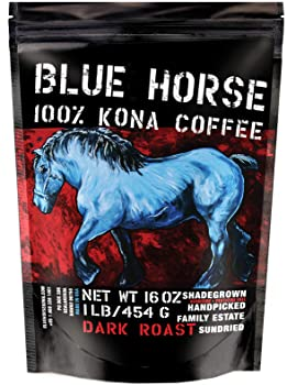 Blue Horse Whole Beans Dark Roast Kona Coffee