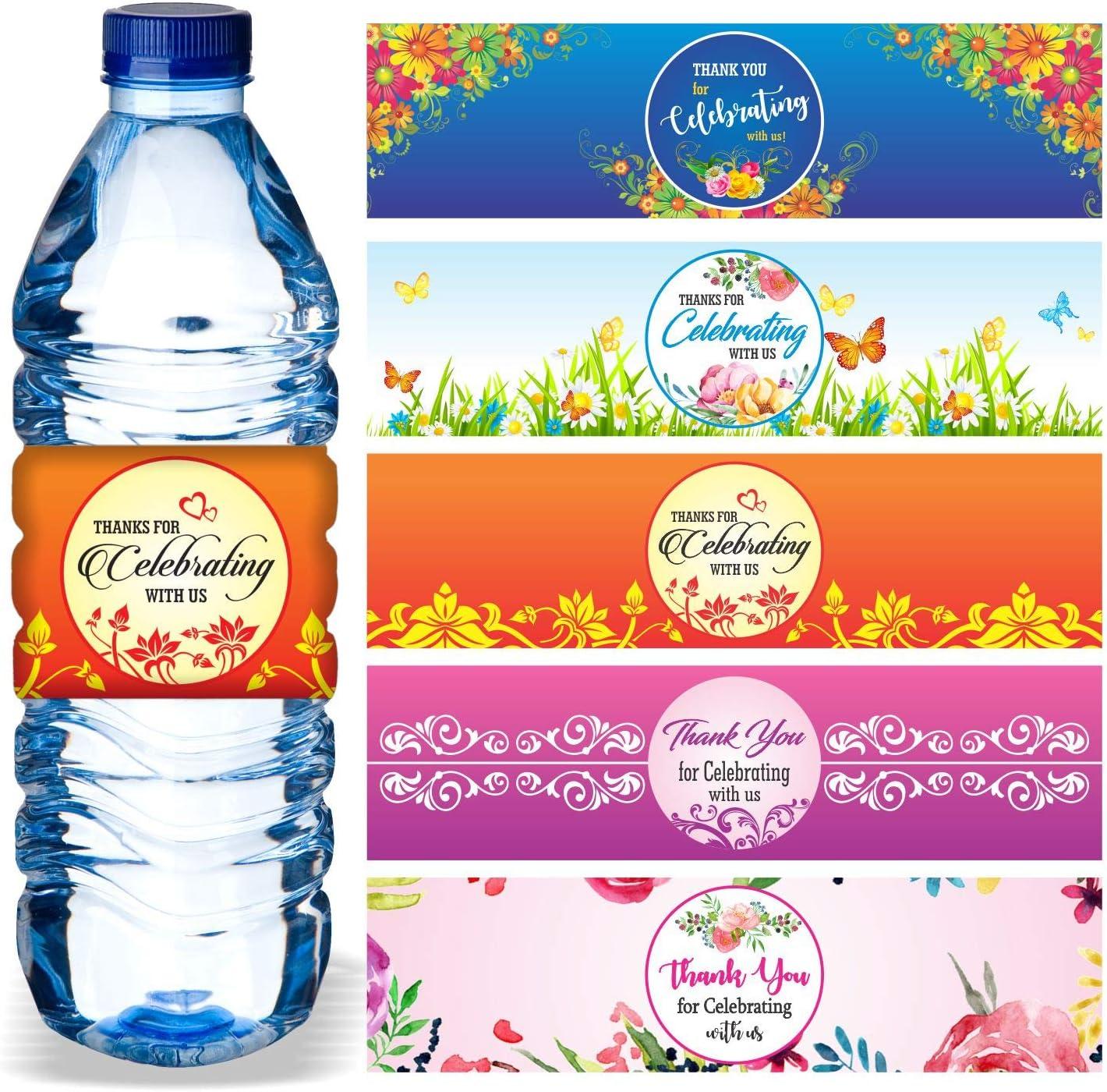 Floral- Bridal Shower Bottle Stickers 3 sizes Bottled Water Labels 30 Wedding Water Bottle Labels Water Bottle Wraps