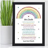 PERSONALISED Rainbow Poem Gifts for Teachers, Teaching Assistants, TA, Nursery Teachers - Best Teacher Poem Gifts for Female Teacher - Teacher Appreciation - End of Term, School Leaving Gifts