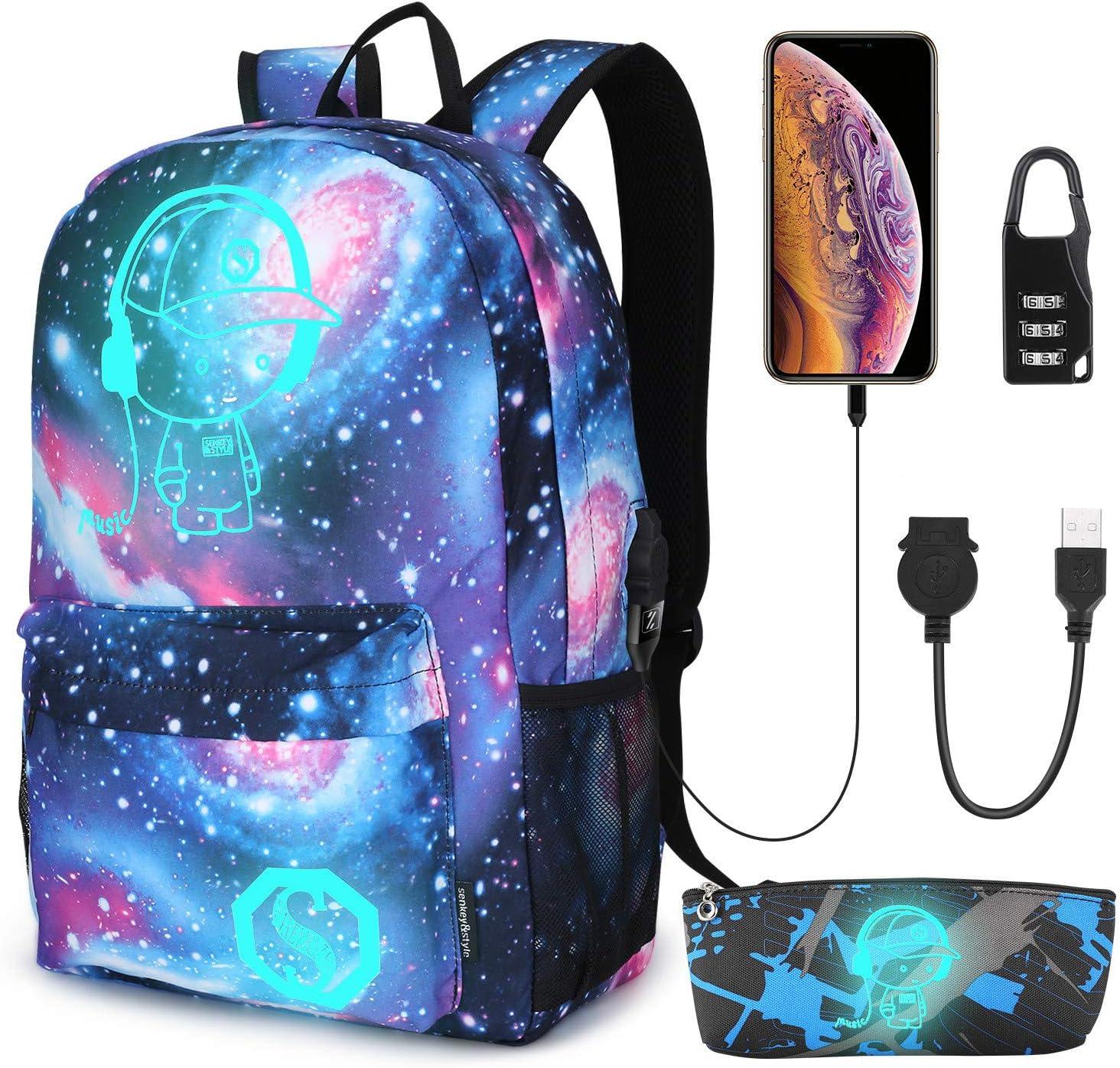 Student Kids School Backpack Book Bag Teenagers Night Luminous Galaxy Printed