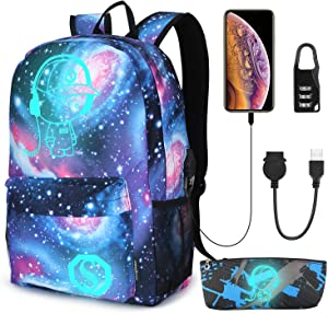 Pawsky Galaxy Backpack for School, Anime Luminous Backpack College Bookbag Anti-Theft Laptop Backpack with USB Charging Port, Sky Blue, Galaxy Backpack