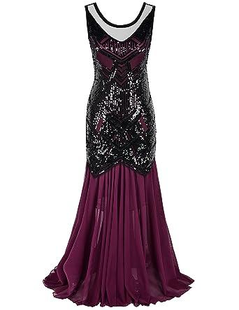 52da7a4d5f0 kayamiya Women s Vintage 1920s Beaded Sequin Maxi Long Gatsby Flapper Prom  Dress S Burgundy