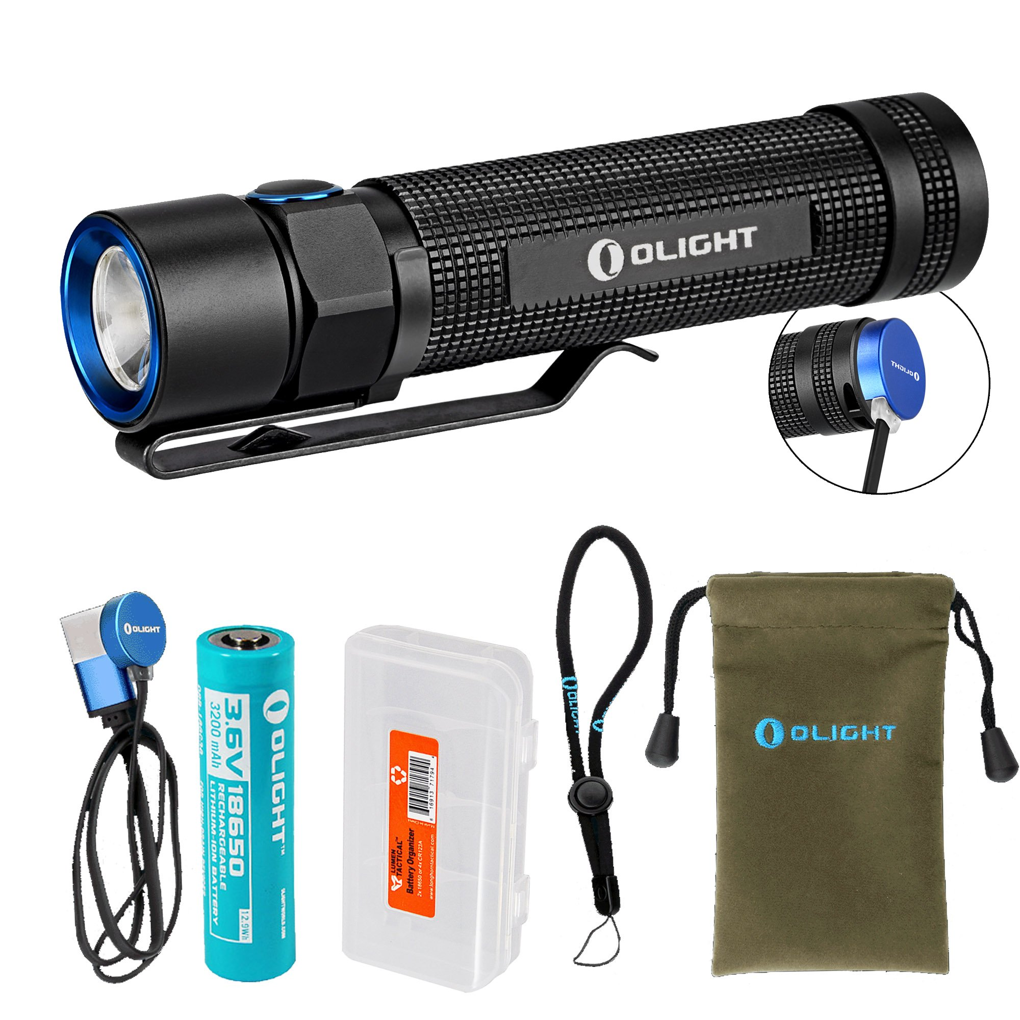 Olight S2R 1020 Lumen Rechargeable LED Flashlight with Magnetic Charger, Olight 3200mAh 18650 battery, and LumenTac Battery Organizer by OLIGHT