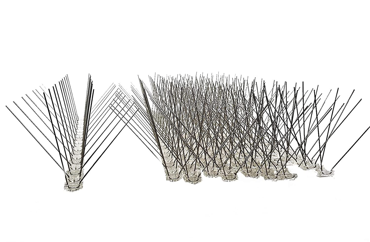 10 pcs (5 metre) pack BIRD SPIKES: 80 stainless steel spikes per metre, 50 cm polycarbonate base