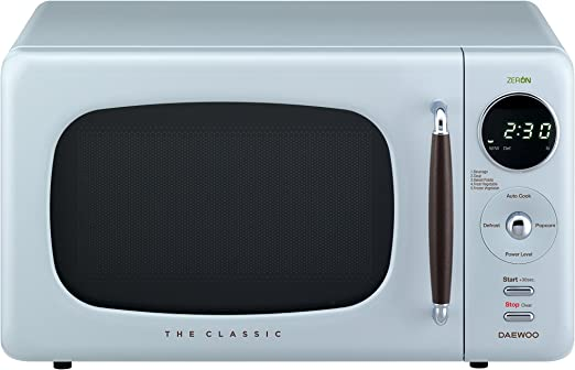 Daewoo KOR07R3ZEL 0.7 cu. ft 700W Retro Countertop Microwave Oven, City Blue