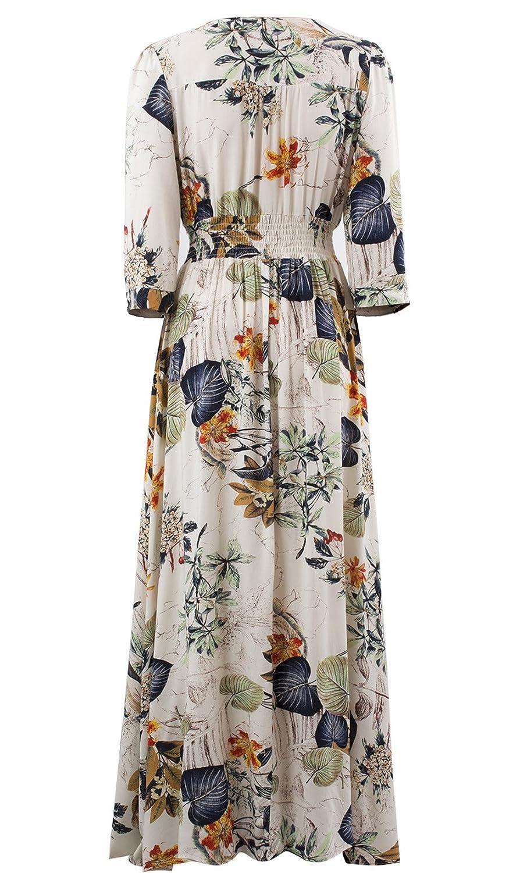 fd9d69789826b Yidarton Damen Sommerkleid Lang Boho V-Ausschnitt Blumen 3/4 Ärmel Maxi  Beach Kleid Strandkleid Cocktail Partykleid (Large, Aprikose): Amazon.de:  Bekleidung