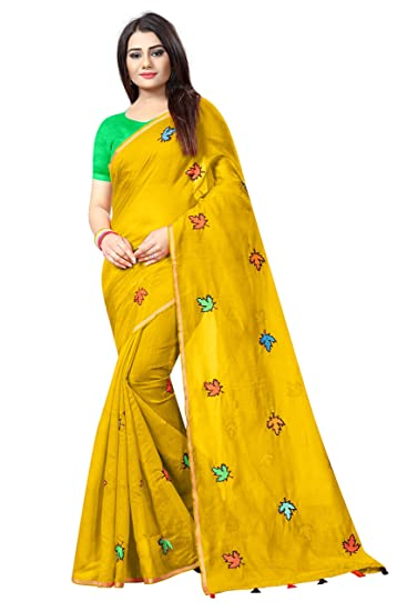 201290bdb127ae SilverStar Women's Mustard Yellow Color Chanderi Cotton Leaf Embroidery  Work Saree With Green Color Plain Banglori Blouse Piece: Amazon.in:  Clothing & ...