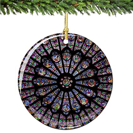 """Rose Window Christmas Ornament, Porcelain 2.75"""" Double Sided Notre  Dame Cathedral Paris Christmas Ornaments - Amazon.com: Rose Window Christmas Ornament, Porcelain 2.75"""
