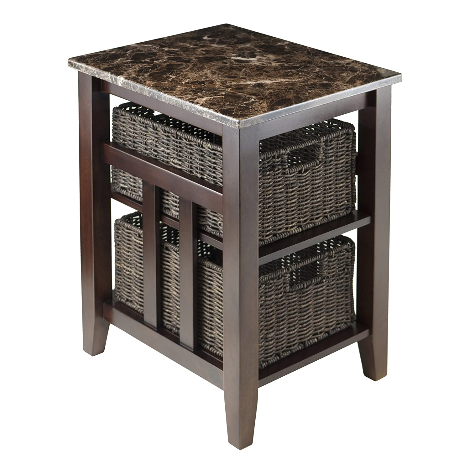 Winsome Wood Faux Marble Top Zoey Side Table with 2 Baskets Winsome Trading 76320