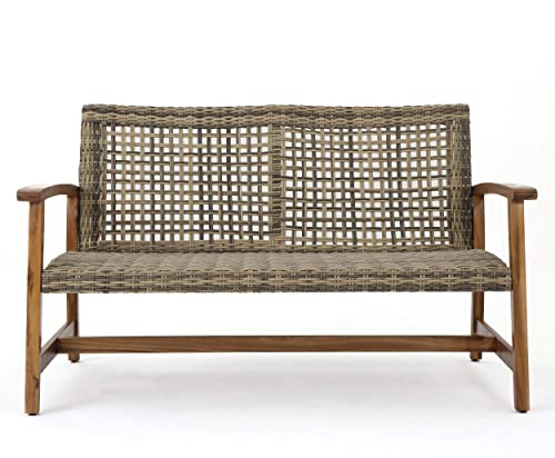 Marcia Outdoor Wood and Wicker Loveseat