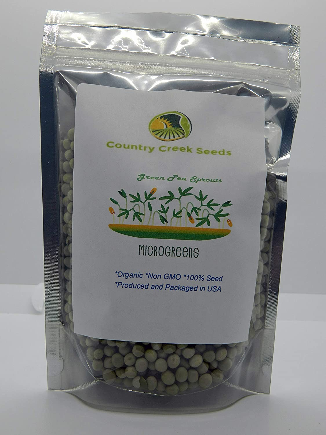 Green Pea Sprouting Seed, Organic, Non GMO - 1 Lb - Country Creek Brand - Green Peas for Sprouts, Garden Planting, Cooking, Soup, Emergency Food Storage, Vegetable Gardening, Juicing, Cover Crop