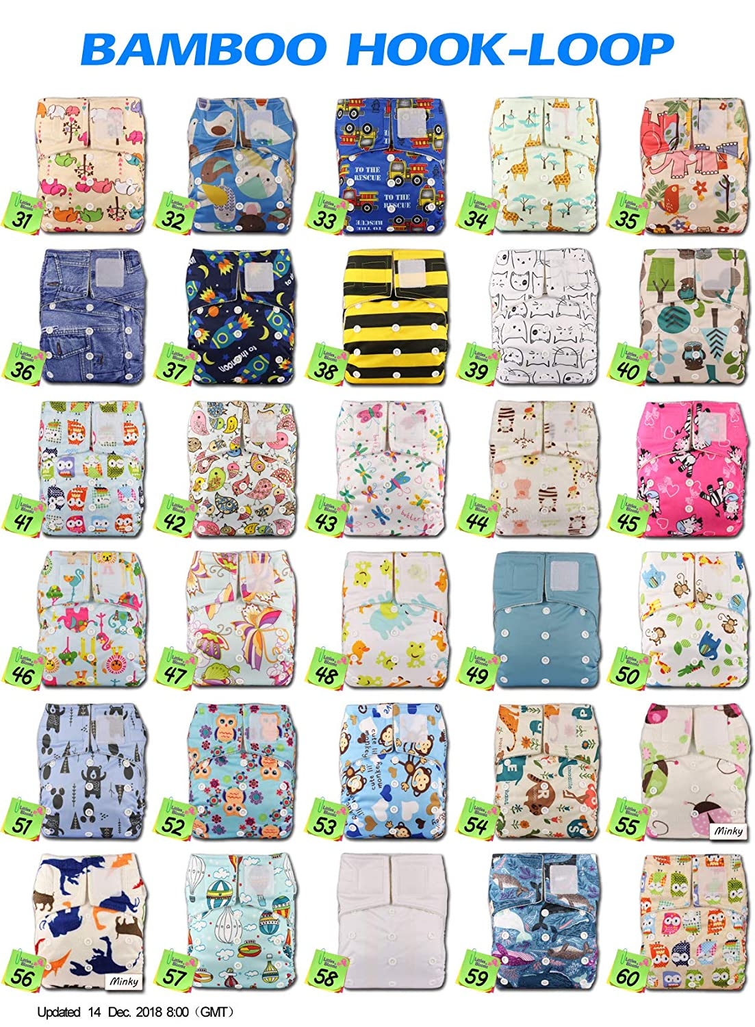 Baby Cloth Washable Reusable Nappy Pocket Diaper Bamboo Littles /& Bloomz with 2 Bamboo Charcoal Inserts Fastener: Hook-Loop Pattern 53