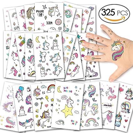 Dyffle Einhorn Kinder Tattoos Tattoo Kinder Set 25 Sheet Kinder Temporäre Tattoos Aufkleber Geschenke Für Geschenktüten Mitgebsel Kindergeburtstag