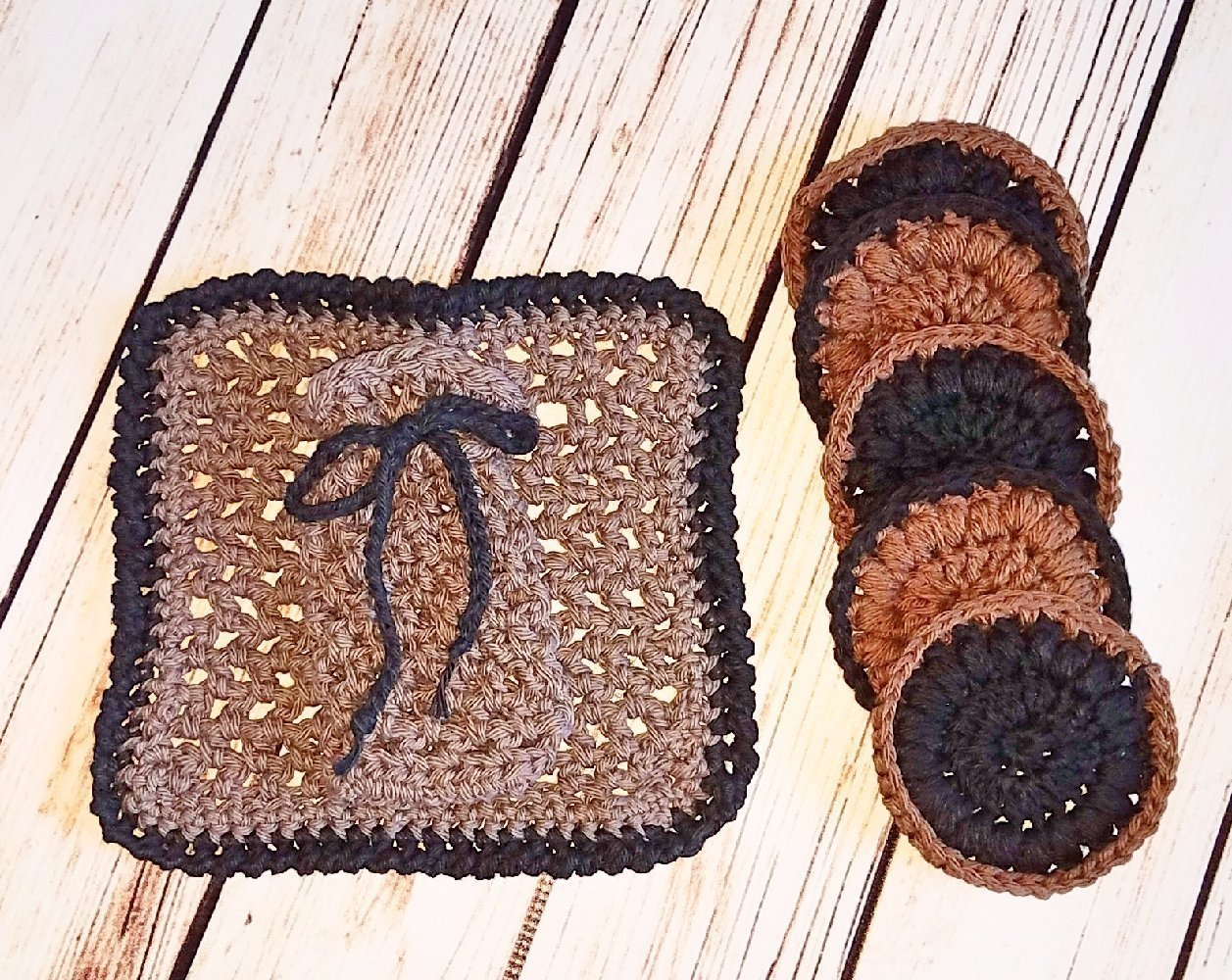 Manly Browns and Black Invigorating Face and Body Spa Accessories by Cloud 9 Crochet