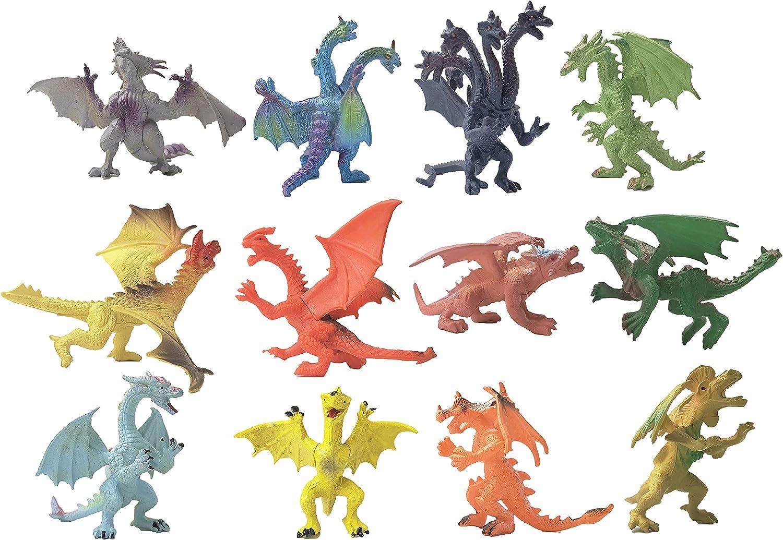 YIJIAOYUN  12 Piezas Creativas del dragón Volador Figuras Frescas del Castillo de Beasties, Estilos Variados para favores de Fiesta o Medias rellenas