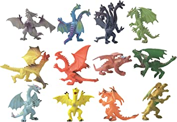 Dragon Figures Fantasy Knight Party Loot Bag Stocking Fillers Pack of 6