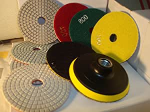 4 Inch Diamond Polishing Pad Granite Marble Best Value Discount 18+1 Pieces Git 50 to Grit 10000 concrete polishing counter top polishing tile abrasive disc best review
