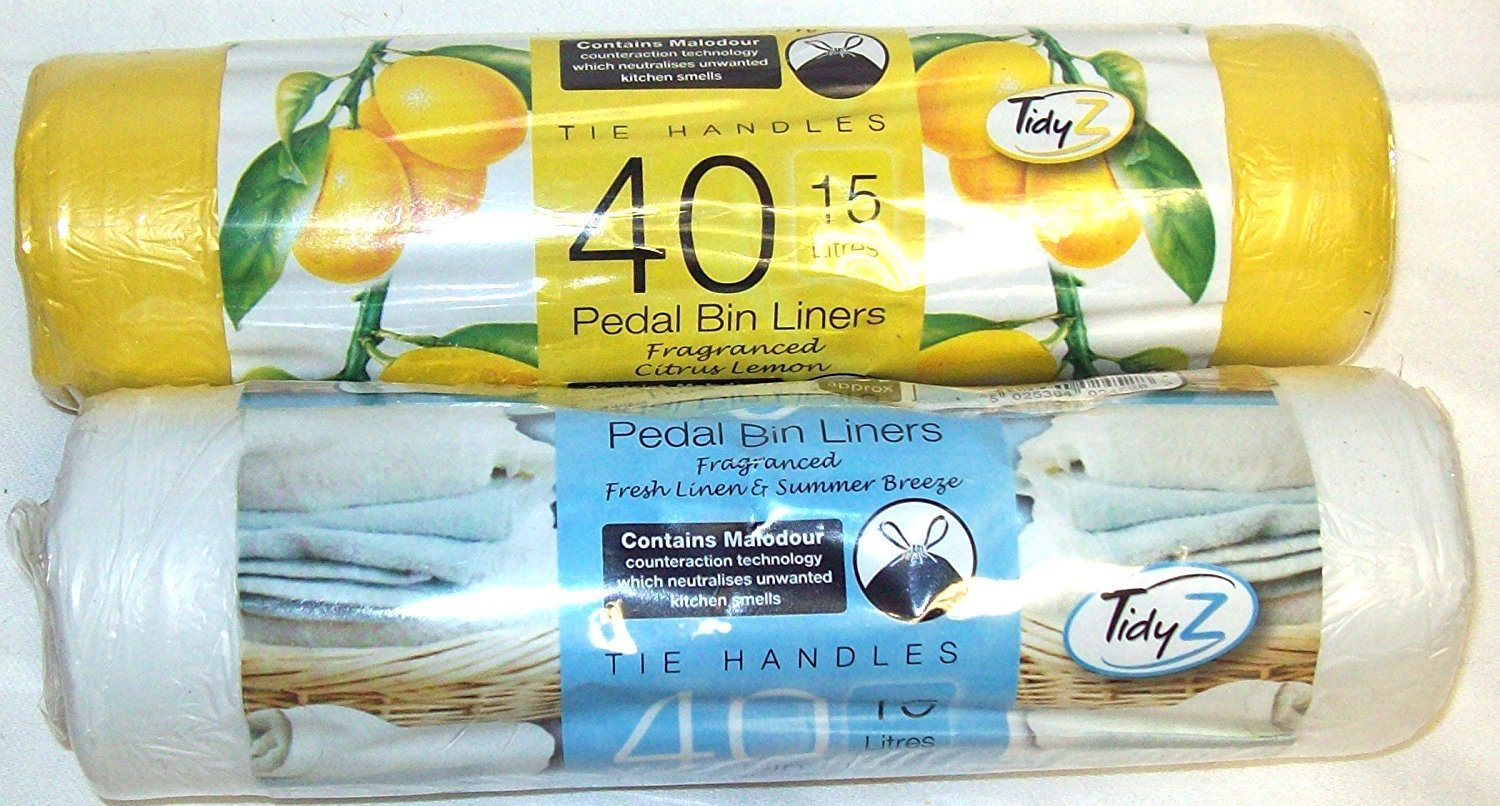 80 Scented Pedal Bin Liners With Tie Handles 15 Litre 40 Fresh Linen ...
