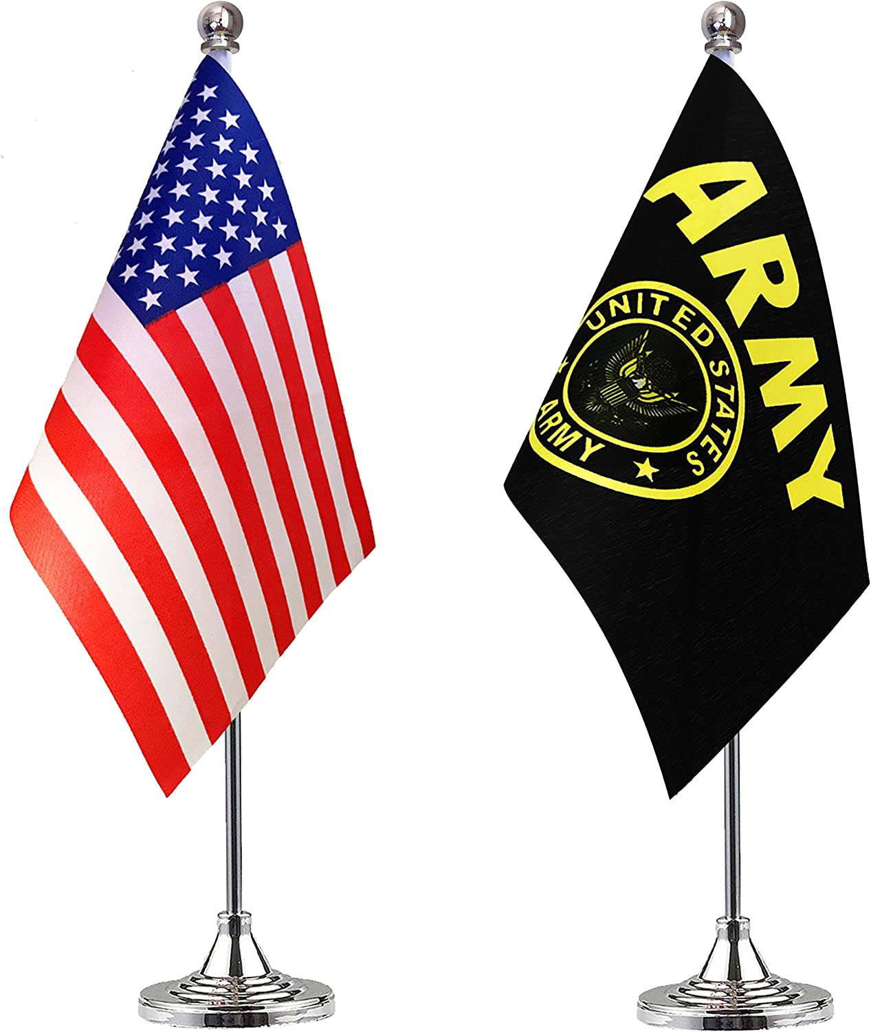 LoveVC US Army Gold Crest Desk Flag Small Mini USA Military Office Desk Table Flags with Stand Base,2 Pack