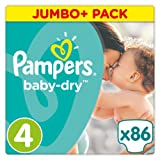 Pampers Baby-Dry, Size 4, 86 Nappies Jumbo+ Pack