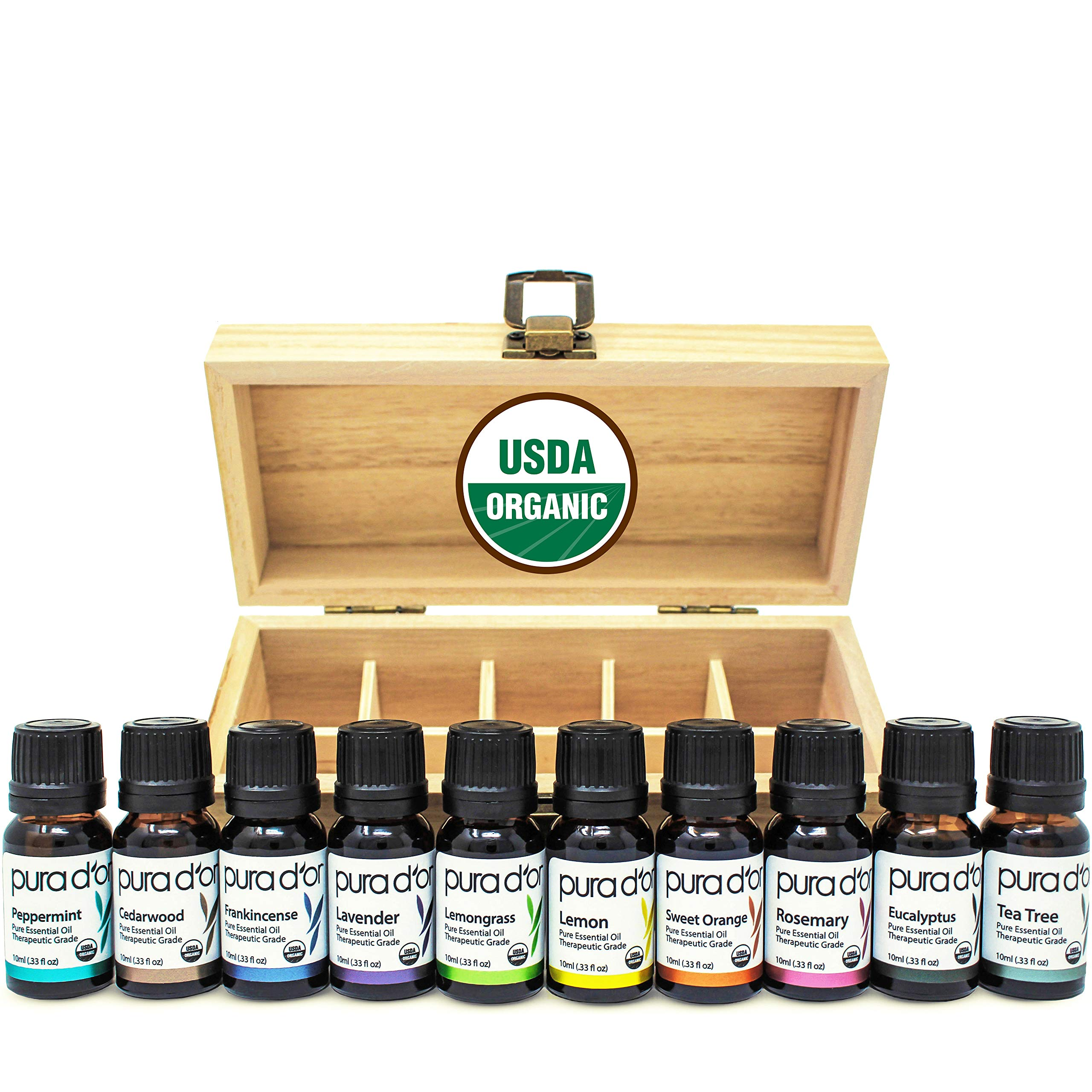 PURA D'OR Essential Oils Wood Box 10mL 10-Set 100% Pure USDA Organic Therapeutic Grade (Tea Tree, Lemon, Lavender, Sweet Orange, Rosemary, Lemongrass, Frankincense, Peppermint, Eucalyptus, Cedarwood) by PURA D'OR