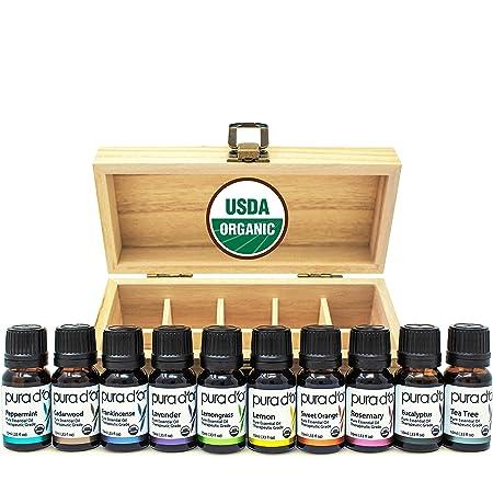PURA D'OR Perfect 10 Essential Oil Wood Box Set