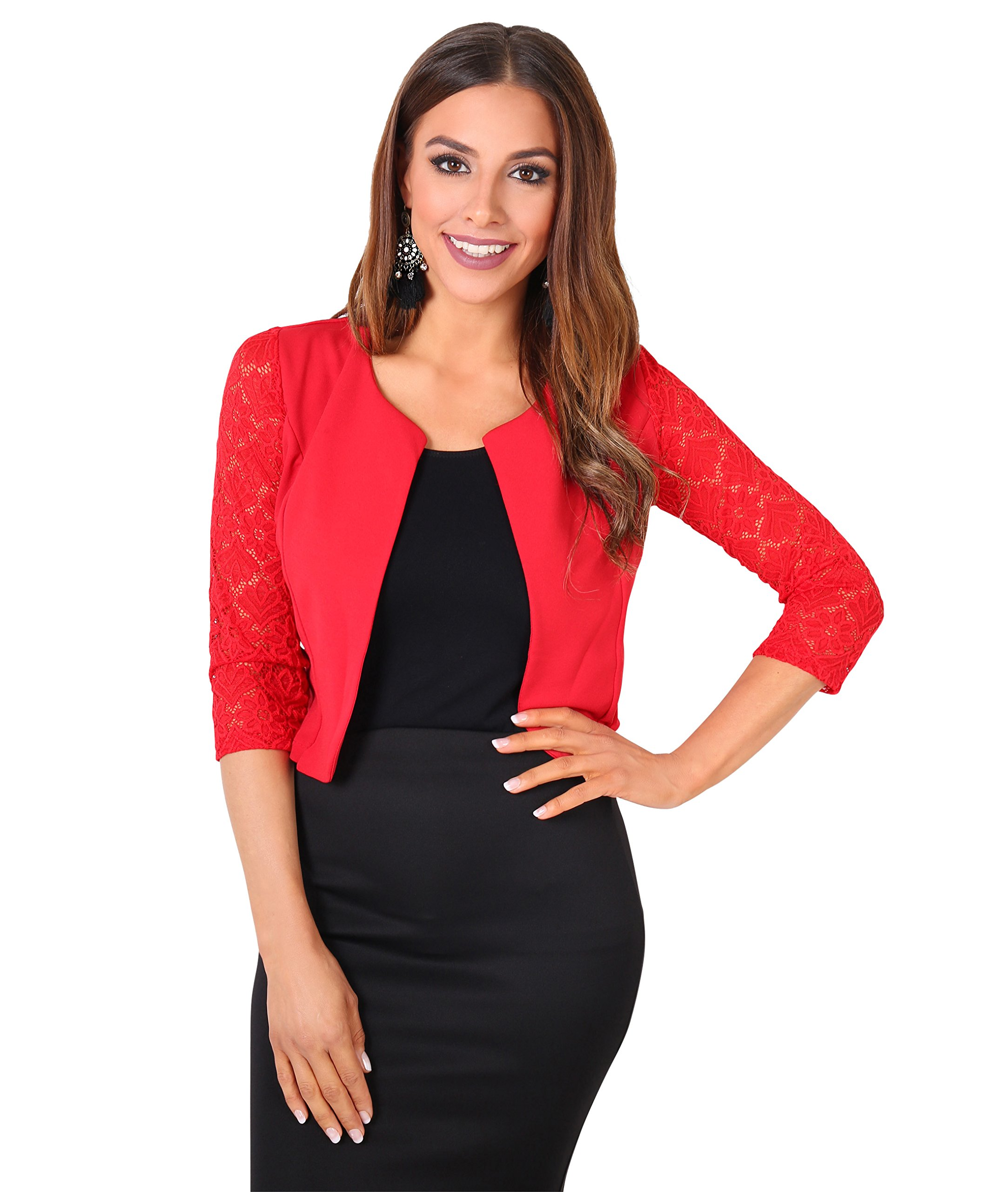 KRISP Lace Blazer (Red, US LXL), [9330-RED-LXL]