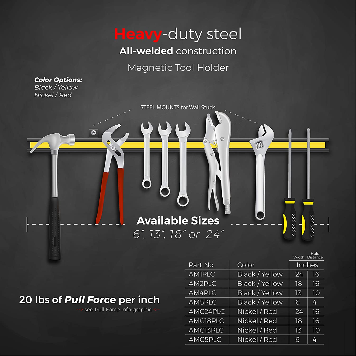 Black Powder Coat with Yellow Stripe AM5PLC 6 Wide 20 lb per inch 6 Wide Master Magnetics Magnetic Tool Holder
