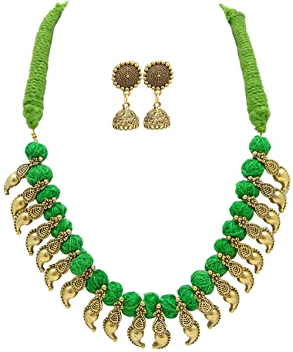 d87bfcccb MDS Antique Mango Charm with Cotton Bead Necklace & Earrings Set for  Beautiful Women (MDS