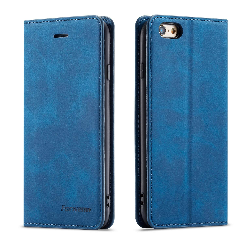 iPhone 6 iPhone 6S用QLTYPRIケース、カードホルダー付き高級PUレザーカバーTPUバンパーキッドスタンド隠し磁気吸着フリップウォレットケースiPhone 6 iPhone 6Sと互換性 - ブルー   B07MDG527N