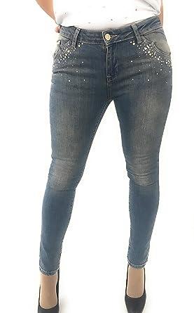 Jeans Skinny Twinset con Applicazioni Borchie Perle E Strass
