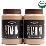 Pepperwood Organic Stone-Ground Whole Sesame Tahini Paste, Unhulled, Unsalted, Non-GMO, Gluten-Free, Kosher, Vegan, USDA Organic, Peanut-Free, 14 Ounce (2-Pack)