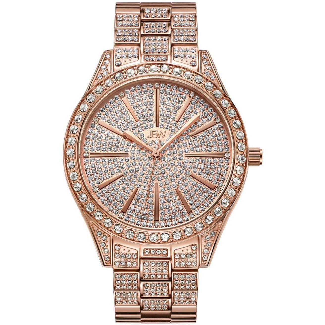 JBW Luxury Women s Cristal 0.12 Carat Diamond Wrist Watch with Stainless Steel Link Bracelet