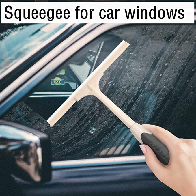 Elikliv Shower Squeegee Silicone Ice Scraper for Car Window Windshield Cleaner Bathroom-Kitchen Window Glass Cleaning Tool 11-Inch Silicone Rubber Window Squeegee