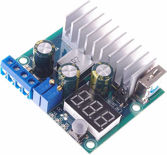 SMAKN/® DC-DC LTC1871 Adjustable High Power Step-Up Power Supply Module with GREEN LED Voltmeter// Button Switch