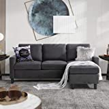 Walsunny Convertible Sectional Sofa for Small Space L-Shaped Couch with Modern Linen Fabric (Grey)