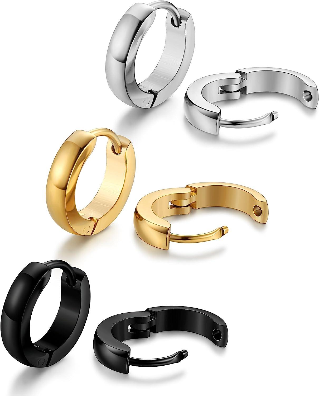 Surgical Stainless Steel Mens Womens Hoop Earrings Huggie Ear Piercings Unisex 8mm