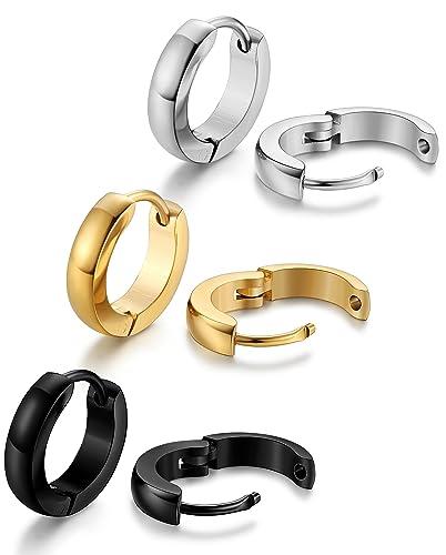 80d70dec9 Jstyle Stainless Steel Mens Womens Hoop Earrings Huggie Ear Piercings 12mm
