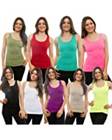 3-PACK Womens Tank Top 100% Cotton Ribbed A-shirt Basic Workout S M L Xl