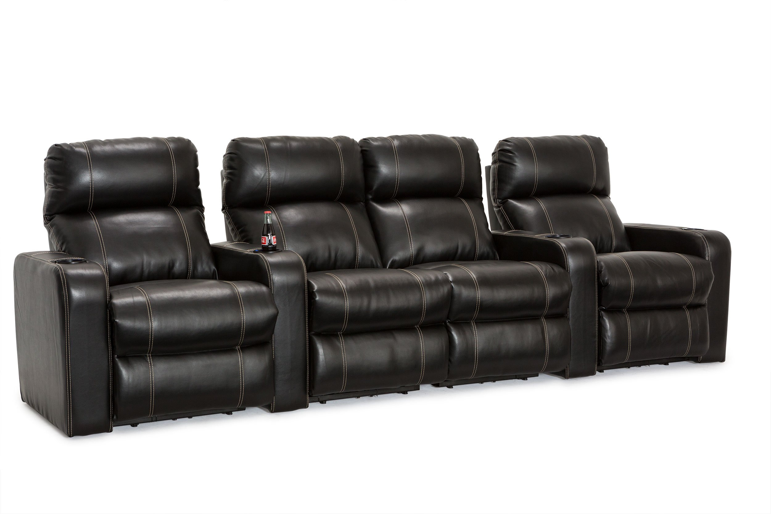 Lane Dynasty Home Theater Seating Bonded Leather Power Recline (Row of 4 with Middle Loveseat, Black)
