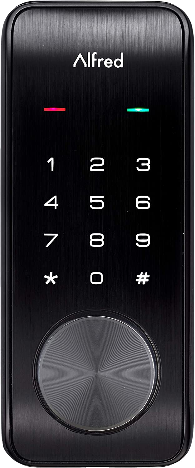 Alfred DB2-B Smart Door Lock Deadbolt Touchscreen Keypad, Pin Code Key Entry Bluetooth, Up to 20 Pin Codes Black