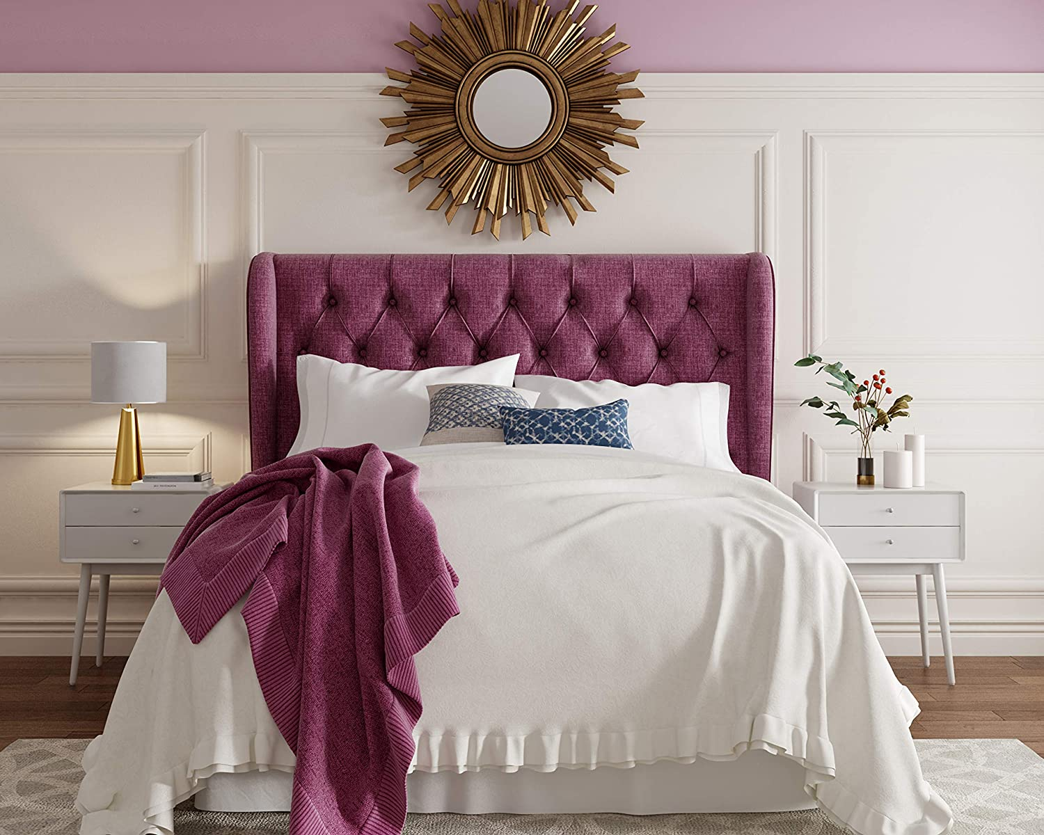 Lillian August Harlow Headboard, Eastern King, Purple