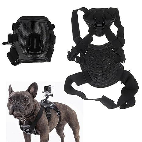 Negro Perro Tirando Arnés Pecho Correa Cinturón Soporte de cámara para GoPro Hero 4 3 +
